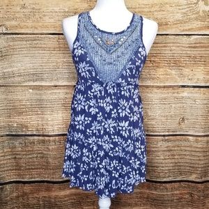 Free People Navy Blue & White Floral Crochet Tunic